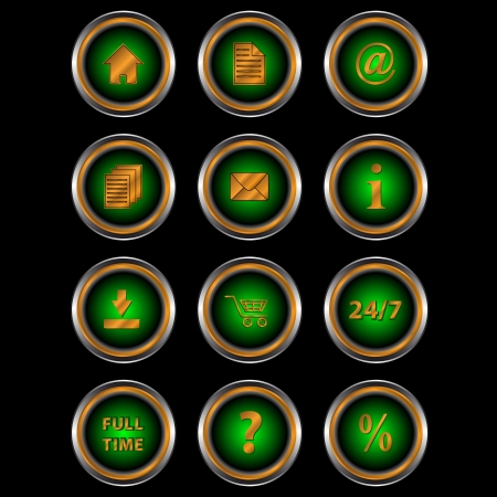 Big set web of green icons for design of your site Stock Vector - 14737834