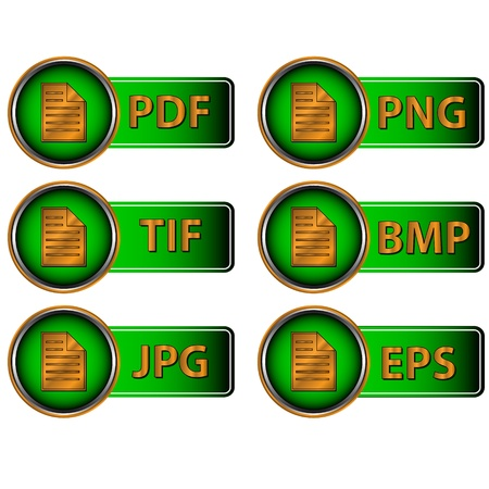 Different image formats as green icons on a white background Stock Vector - 14966907