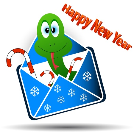 Snake in an envelope with a congratulation of happy new year Stock Vector - 14966915