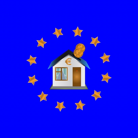 Flag of the European union with the house in the center Stock Vector - 14966908