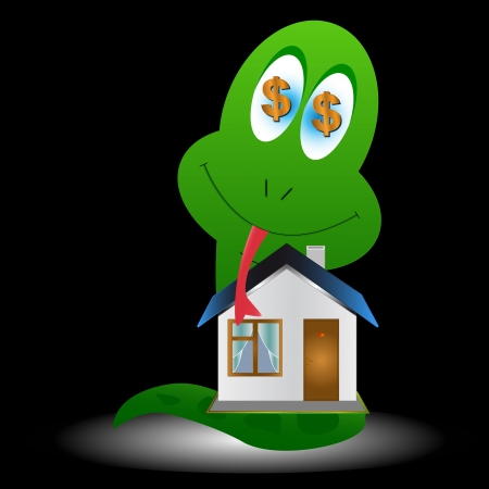 Snake and the house on a black background Vector