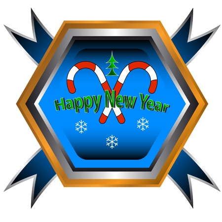 Blue symbol of happy new year with a sign of candy Stock Vector - 15064909