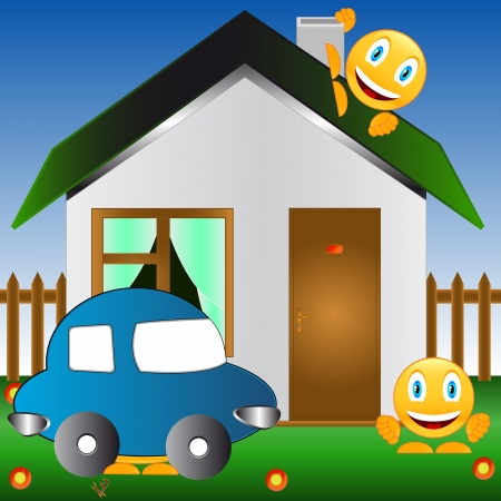 Smiles, car and the house on a lawn with flowers Vector