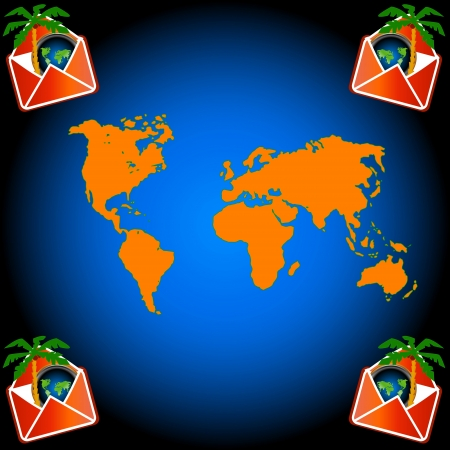 Envelope with palm tree and world map Stock Vector - 15064879