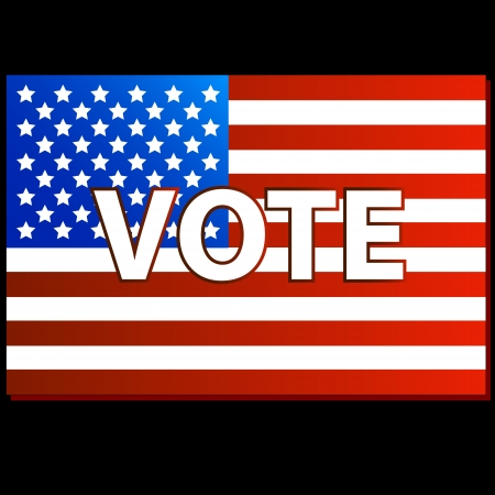 suffrage: United States Vote symbol on a black background