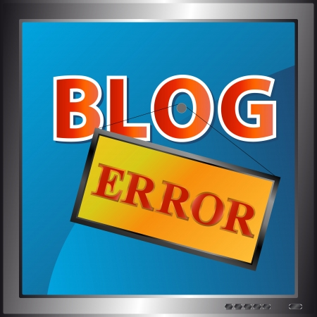 Blog error icon in the monitor. Stock Vector - 15064880