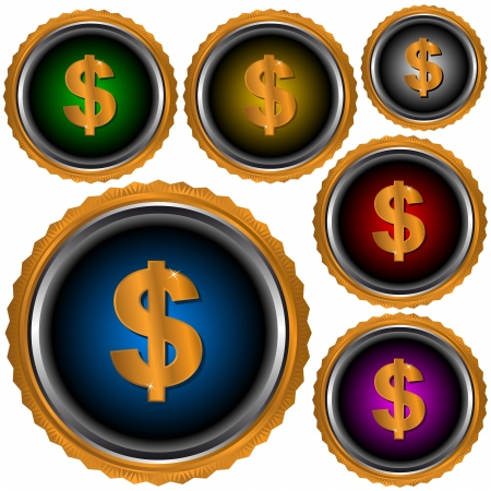 Six icons dollar of different color. Vector