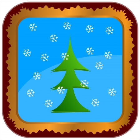 Unique frame with a fir-tree and snowflakes in the center Stock Vector - 15179179