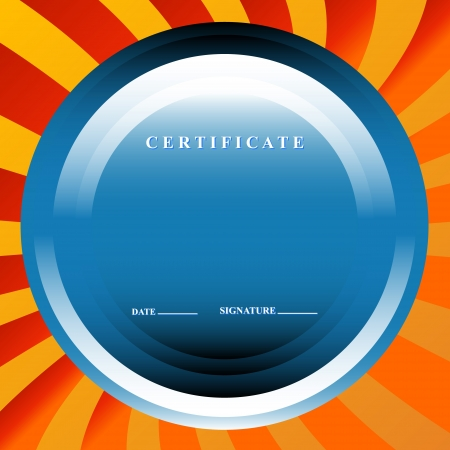 The blue certificate in unique style on an orange background Vector
