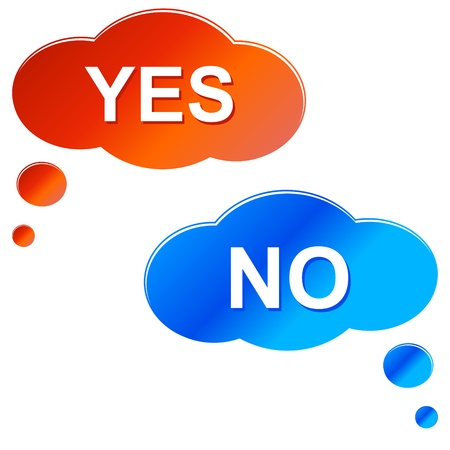 Clouds yes and no on a white background Stock Vector - 15322831