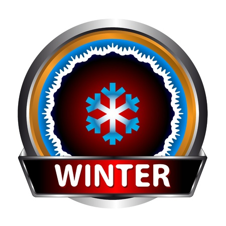 Icon of winter with a snowflake on a white background Stock Vector - 15322830