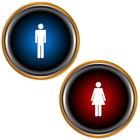male symbol:  Man and Woman icon on white background Illustration