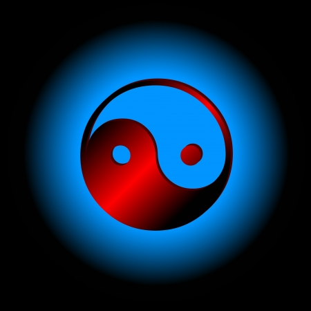 Red Yin - yang symbol on a blue backround Stock Vector - 15355548