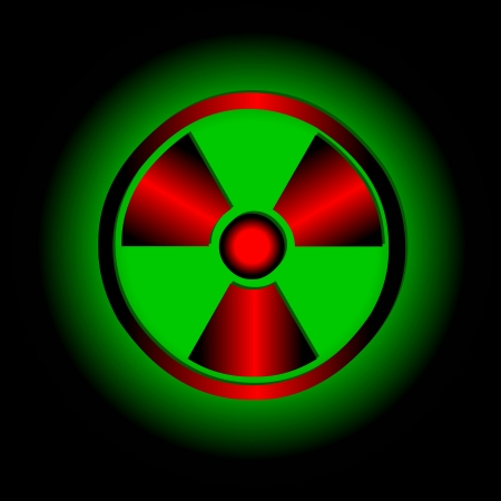 Red radiation round sign over green background Stock Vector - 15355549