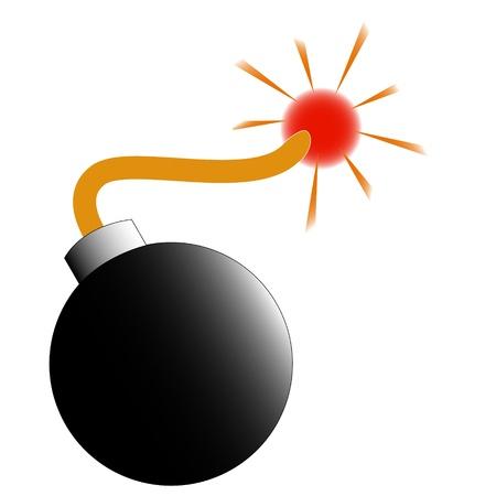 bombing: ilustraci�n quema bomba negro aislado en el fondo blanco