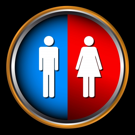 Man and Woman icon on black background Vector