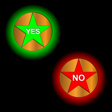 Buttons yes and no on a black background Vector