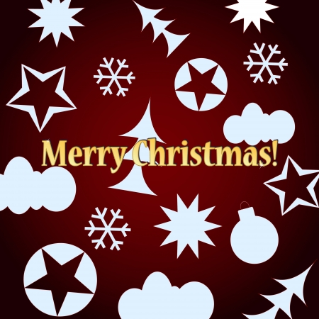 Red Merry Christmas background with various figures of white color Vector