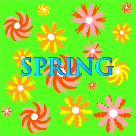 Unique green spring background with various flowers Vector