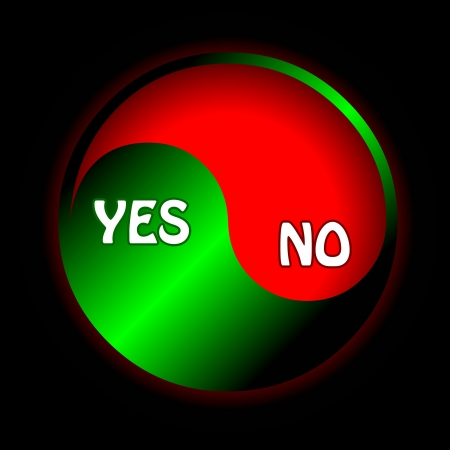 Unique button yes and no on a black background Stock Vector - 15355550