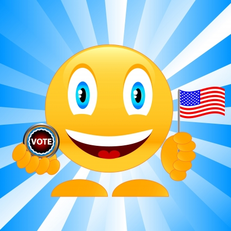 smile with the American flag and a badge a vote Vector