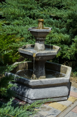 Fine stone fountain in park among trees photo