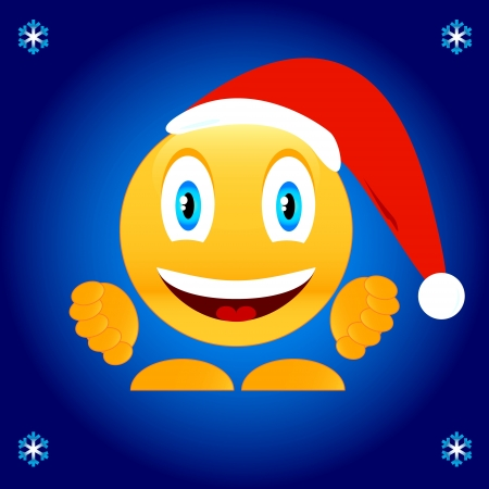 Smile in a New Years cap on a unique background Vector