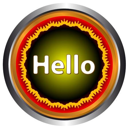 salutation: Yellow hello icon on a white background