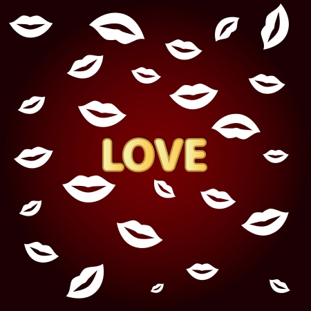 Red background love with white lips of the various sizes Vector