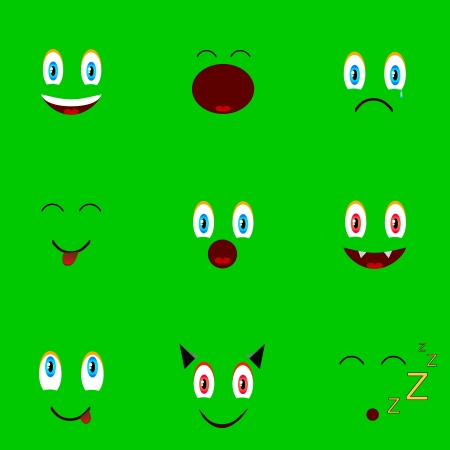 love sad: Nine faces located on a green backround