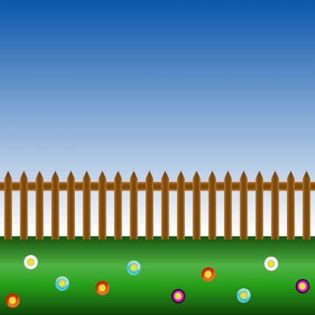 Background from a grass with a fence Vector