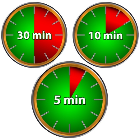 Unique icons of hours with five, ten, thirty  minutes Vector