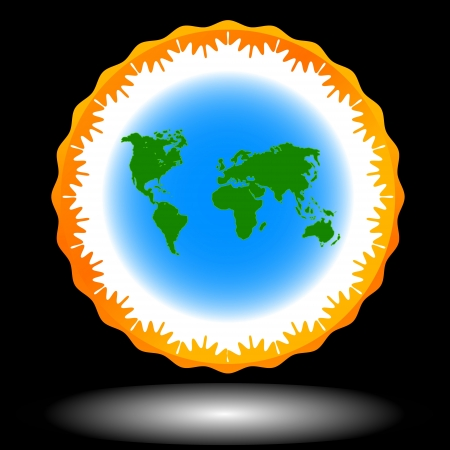 World icon located on a black background Stock Vector - 15643645
