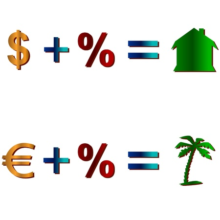 addition: Addition of dollar, euro and percent and result Illustration