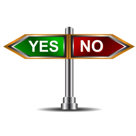 check mark sign: Index sign with the directions yes and no
