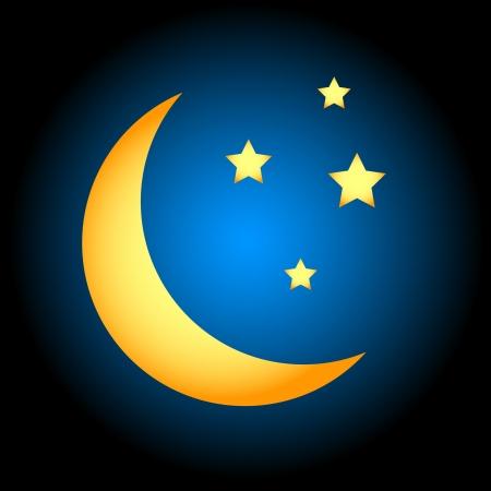 star and crescent: Noche icono en estilo �nico en un fondo negro Vectores
