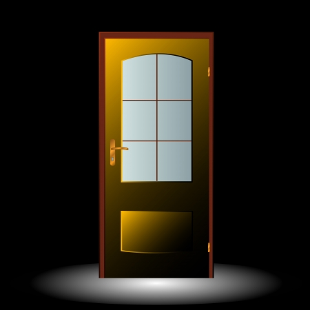 New door symbol located on a black background Stock Vector - 15715269