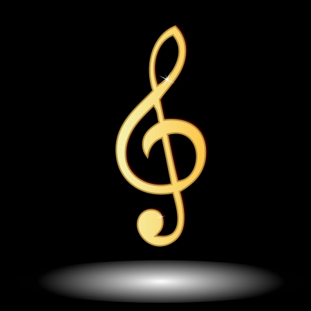 Golden music note button on a black background Vector
