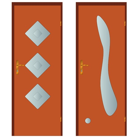 Two types of doors on a white background Stock Vector - 15735731
