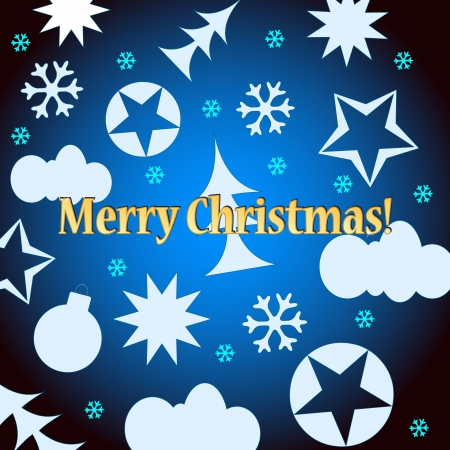 Blue Merry Christmas background with various figures of white color Vector