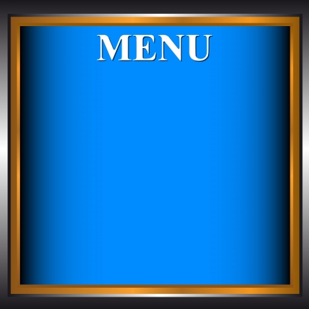 Blue background of the menu with a gold frame Vector