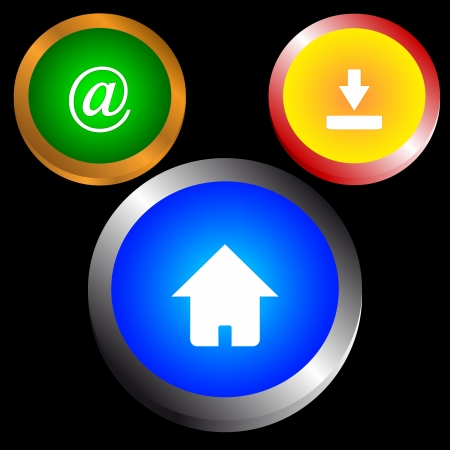 procent: Set from three web of icons on a black background