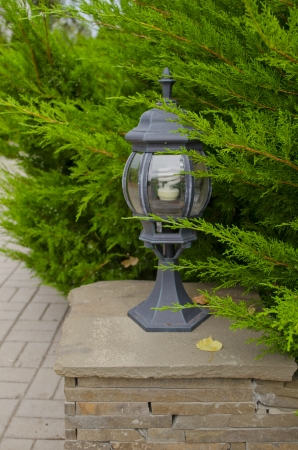 unlit: Beautiful small lamp on a pedestal in park