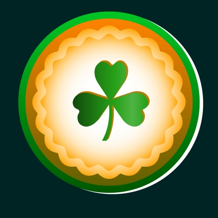 icona: High resolution Green Clover icon on a dark green background Illustration