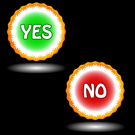 Buttons yes and no on a black background Stock Vector - 15779080