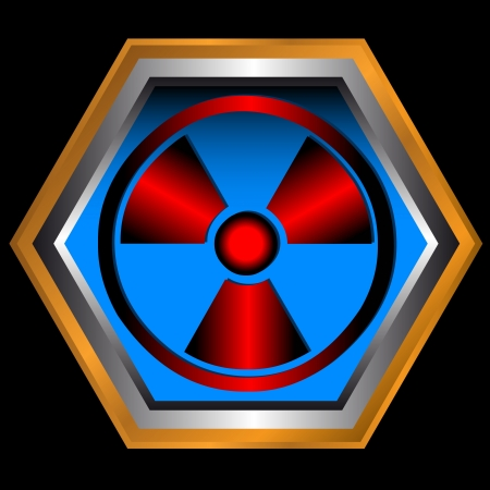 Red radiation round sign on a blue icon Vector