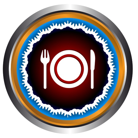 Restaurant Icon In Form Of Sphere With Plug And Knife Vector