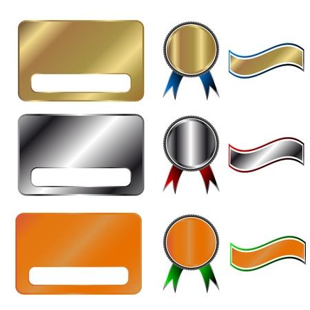 Set aus Gold, Silber und Bronze Elementen Standard-Bild - 15829345