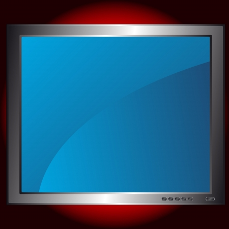 New blue monitor on a red background Stock Vector - 15829348