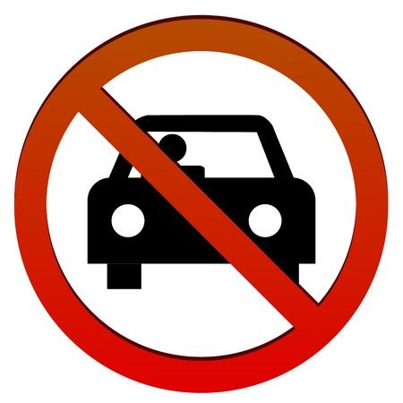 señal de transito: Señal roja con el coche sobre un fondo blanco